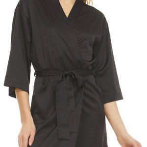 FLORA NIKROOZ Wrap Robe & Belt Black Small
